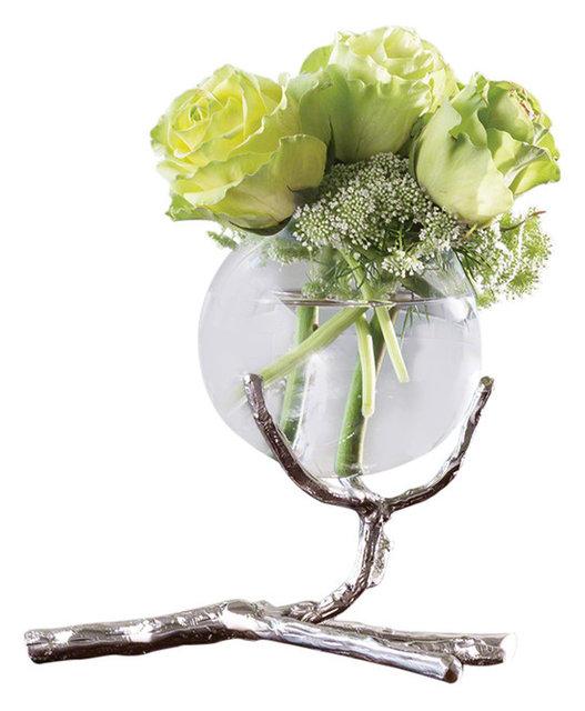 Twig Branch Metal Glass Bud Vase Silver Single Centerpiece