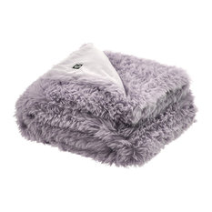 Kasim Faux Lamb Fur Throw, Lavander