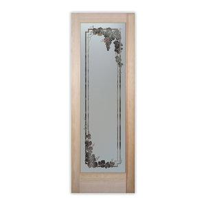 Pantry Door - Vineyard Grapes Garland 1D Etched Glass Door