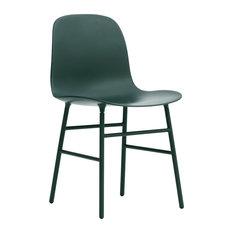 Normann Copenhagen Form Chair, Lacquered Steel Legs, Green