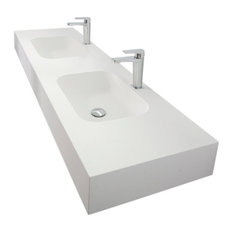Zero Wall-Mounted Countertop and Sink, 120 cm, Double Sink