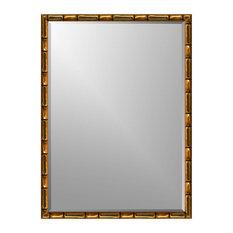 "Gold Bamboo Wall Mirror, 17.5"" X 21.5"", Flat"