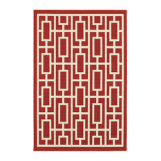 """Madelina Tileworks Red and Ivory Indoor or Outdoor Area Rug, 5'3""""x7'6"""""""