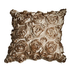 "Textured Rose Pillow, Champagne, 18""x18"", Without Insert"