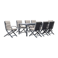 Amber 8-Person Outdoor Dining Set, Anthracite and Beige