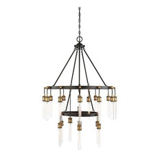 Campbell 21-Light Chandelier, Vintage Black With Warm Brass