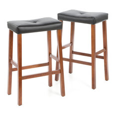 hilton furnitures set of 2 upholstered faux leather saddle seat barstool cherry