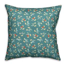 """Songbird Pattern, Blue Outdoor Throw Pillow, 18""""x18"""""""