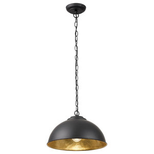 Colman Retro Style Metal Pendant, With Gold Leaf Inner, Black