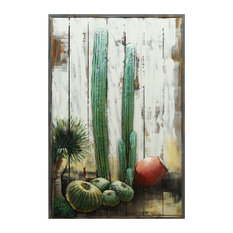 """""""Cacti"""" Metallic Handed Painted Rugged Wooden Blocks Wall Decor"""