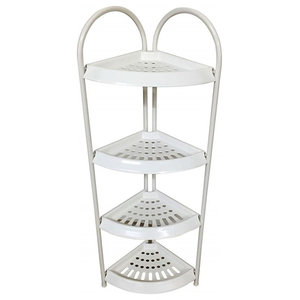 Shower Caddy Corner in Steel With White Finish, 4 Open Shelves, Modern Design