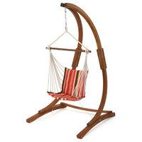 Gina Outdoor Teak Finish Larch Wood Hammock Chair, Orange/Red/Brown Stripe