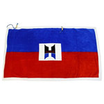 Hilaire Productions - Signature Beach Towel - This innovative, patented design beach towel is made of cotton with a bright red and blue striped print and a white border. It has a drawstring attachment to make it easy, comfortable, and secure to wear at the beach, pool, or sauna. A hidden and water-resistant zippered storage pocket makes transporting it and other items safer and easier. Conceal your phone, iPod, keys, wallet, and anything else while on-the-go.