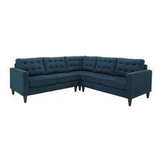 Empress 3-Piece Upholstered Fabric Sectional Sofa Set, Azure