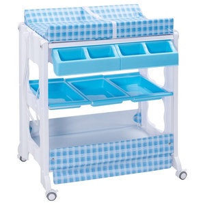 1801eb9c37f3 Modern Style Infant Baby Bath Changing Table Diaper Station With Tube, Blue