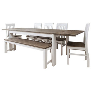 Traditional Dining Set, Dark Pine Wood/Extendable Table, 5-Chair and Bench