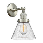 Large Cone 1-Light Wall Sconce, Brushed Satin Nickel