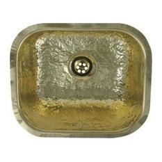 Decorative Prep Rectangular Undermount Sink, Hammered Brass