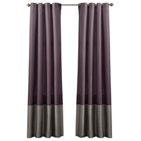 Window Curtain Panel, Gray and Purple, Set of 2