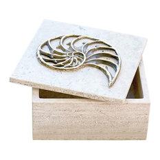Coastal Bronze Nautilus Shell Travertine Box | Decorative Trinket Marble Square