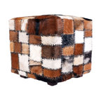 Mccoy Cowhide Top Leather Storage Ottoman Footstools And