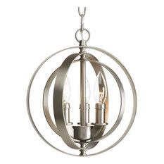 Progress Lighting - 3-Light Sphere Pendant, Burnished Silver - Pendant Lighting