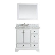 "Jocelyn Bathroom Sink Vanity Set, White Marble Top, Base: White, 36"""