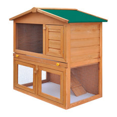VidaXL Outdoor Rabbit Hutch Small Animal House Pet Cage, 3 Door Wood