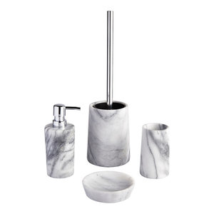 Athena 4-Piece Bathroom Accessory Collection, Marble and Chrome
