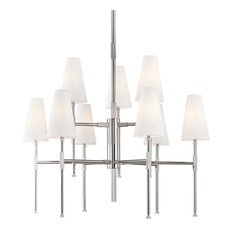 Bowery 9-Light Two-Tier Chandelier, Polished Nickel
