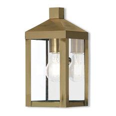 1 Light Outdoor Wall Lantern, Antique Brass