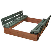 Covered Convertible Cedar Sandbox with Two Bench Seats - Natural/Green