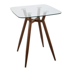 Lumiscource   Lumisource Clara Bar Stool Table, Walnut And Clear Glass    Indoor Pub And