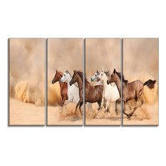 """Herd Gallops in Sand storm"" Landscape Photography Canvas Print, 48""x28"", Panel"