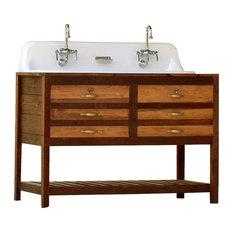 "Reclaimed Wood Double Bath Vanity 50"", Trough Farm Sink"