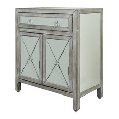 2 Door Single Drawer Mirrored Chest Weathered Driftwood Finish