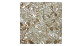 "1/4"" Reflective Tempered Fire Glass, Platinum Moonlight, 10 Pound Jar"