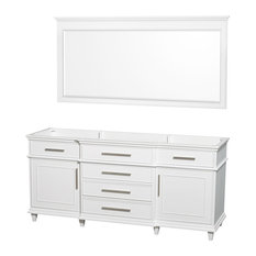 "72"" Double Bathroom Vanity in White With Mirror, No Countertop"