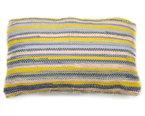 re:loom - re:loom Handwoven Small Pillow, Yellow/Purple/Pink - Decorative Pillows
