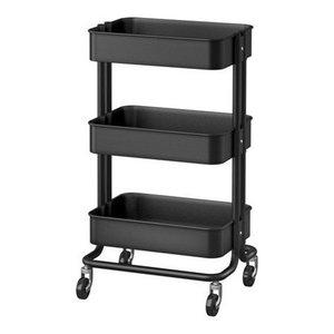 Modern Stylish Serving Trolley Cart, Black Finished Steel Metal With 3-Shelf