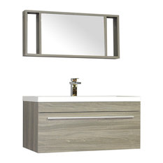 36 inch Single Wall Mount Modern Bathroom Vanity in Gray without Mirror