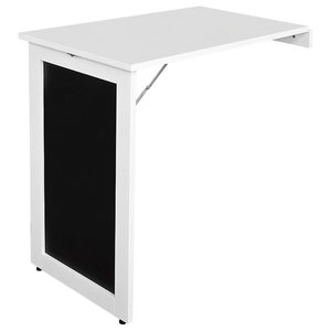 Folding Wall-Mounted Table, White Finish Wood With Blackboard for Space Saving