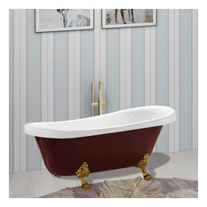 "Vanity Art Freestanding Acrylic Bathtub, Red and White, 32""x67"""
