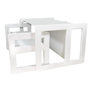 Obique Kids Set of Bench and Table, White