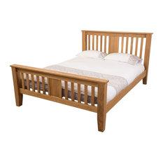 Modern Furniture Direct - Boston Solid Oak Bed Frame 138 cm, Double - Panel Beds