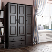 100% Solid Wood 3-Door Grand Armoire With Lock, Java
