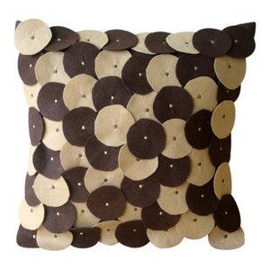 Brown Circular Felt Applique 65x65 Felt Euro Pillowcase, Chocolate Souffle