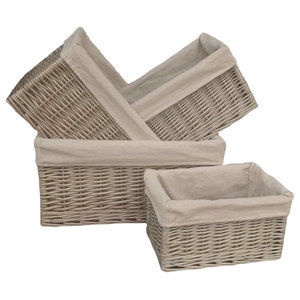 Antique Wash Lined Open Wicker Storage Baskets, Set of 4