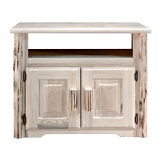 Montana Log Collection Wood Utility Stand In Clear Lacquer Finish MWUSNV