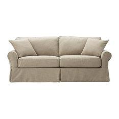 Captivating Slipcovered Standard Sofa, Pearl Linen   Sofas